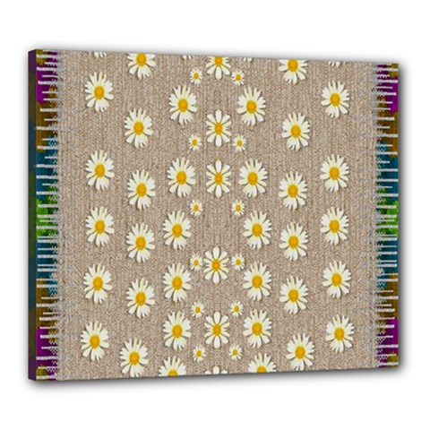 Star Fall Of Fantasy Flowers On Pearl Lace Canvas 24  X 20