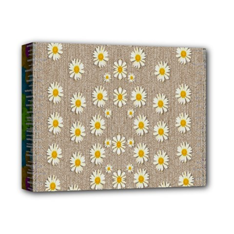 Star Fall Of Fantasy Flowers On Pearl Lace Deluxe Canvas 14  X 11