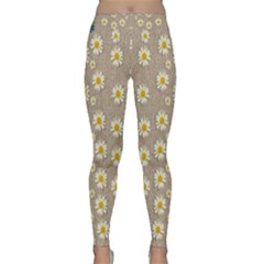 Star Fall Of Fantasy Flowers On Pearl Lace Classic Yoga Leggings