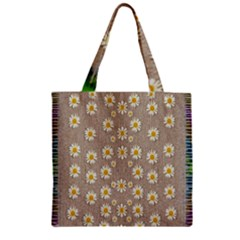 Star Fall Of Fantasy Flowers On Pearl Lace Zipper Grocery Tote Bag