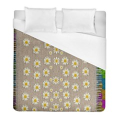 Star Fall Of Fantasy Flowers On Pearl Lace Duvet Cover (full/ Double Size)