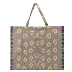 Star Fall Of Fantasy Flowers On Pearl Lace Zipper Large Tote Bag