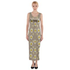 Star Fall Of Fantasy Flowers On Pearl Lace Fitted Maxi Dress