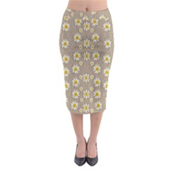 Star Fall Of Fantasy Flowers On Pearl Lace Midi Pencil Skirt