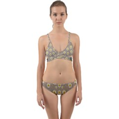 Star Fall Of Fantasy Flowers On Pearl Lace Wrap Around Bikini Set