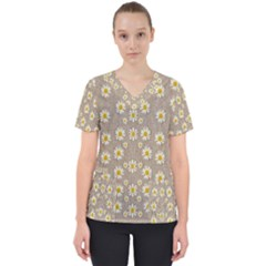 Star Fall Of Fantasy Flowers On Pearl Lace Scrub Top