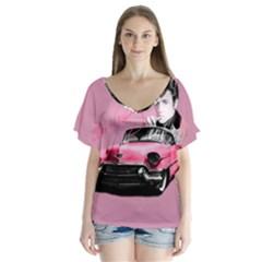 Elvis Presley s Pink Cadillac V Neck Flutter Sleeve Top