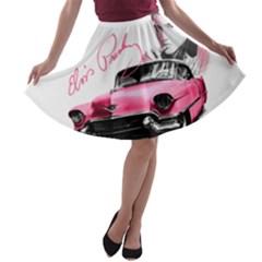 Elvis Presley s Pink Cadillac A Line Skater Skirt