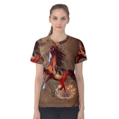 Awesome Horse  With Skull In Red Colors Women s Cotton Tee