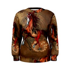 Awesome Horse  With Skull In Red Colors Women s Sweatshirt