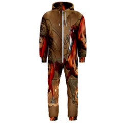 Awesome Horse  With Skull In Red Colors Hooded Jumpsuit (men)