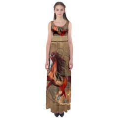 Awesome Horse  With Skull In Red Colors Empire Waist Maxi Dress