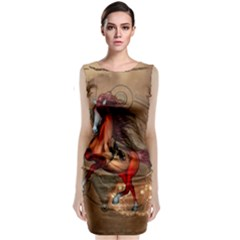 Awesome Horse  With Skull In Red Colors Classic Sleeveless Midi Dress