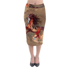 Awesome Horse  With Skull In Red Colors Midi Pencil Skirt