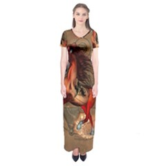 Awesome Horse  With Skull In Red Colors Short Sleeve Maxi Dress