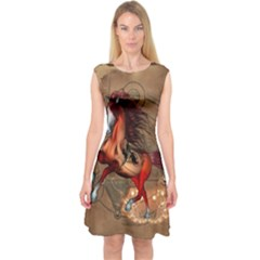 Awesome Horse  With Skull In Red Colors Capsleeve Midi Dress