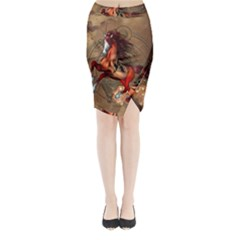 Awesome Horse  With Skull In Red Colors Midi Wrap Pencil Skirt