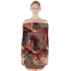 Awesome Horse  With Skull In Red Colors Long Sleeve Off Shoulder Dress