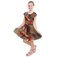 Awesome Horse  With Skull In Red Colors Kids  Short Sleeve Dress