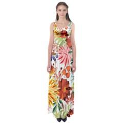 Autumn Flowers Pattern 1 Empire Waist Maxi Dress