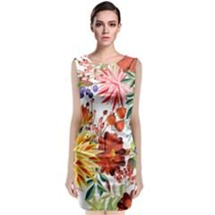 Autumn Flowers Pattern 1 Classic Sleeveless Midi Dress