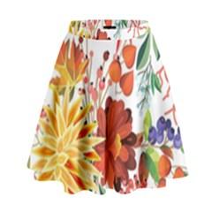 Autumn Flowers Pattern 1 High Waist Skirt