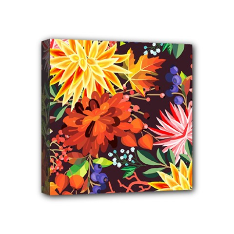 Autumn Flowers Pattern 2 Mini Canvas 4  X 4