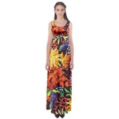 Autumn Flowers Pattern 2 Empire Waist Maxi Dress