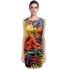 Autumn Flowers Pattern 2 Classic Sleeveless Midi Dress