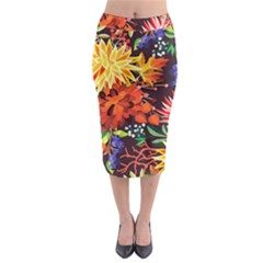 Autumn Flowers Pattern 2 Midi Pencil Skirt