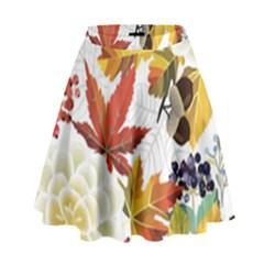 Autumn Flowers Pattern 3 High Waist Skirt
