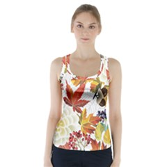 Autumn Flowers Pattern 3 Racer Back Sports Top