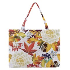 Autumn Flowers Pattern 3 Zipper Medium Tote Bag