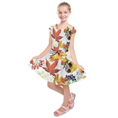 Autumn Flowers Pattern 3 Kids  Short Sleeve Dress