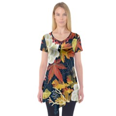 Autumn Flowers Pattern 4 Short Sleeve Tunic