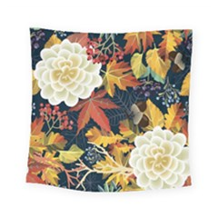 Autumn Flowers Pattern 4 Square Tapestry (small)