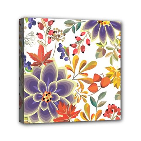 Autumn Flowers Pattern 5 Mini Canvas 6  X 6