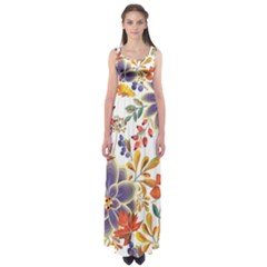Autumn Flowers Pattern 5 Empire Waist Maxi Dress