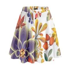 Autumn Flowers Pattern 5 High Waist Skirt