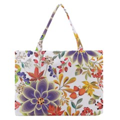 Autumn Flowers Pattern 5 Zipper Medium Tote Bag