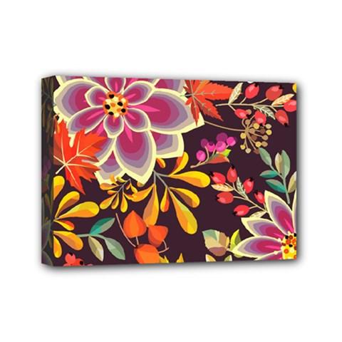 Autumn Flowers Pattern 6 Mini Canvas 7  X 5