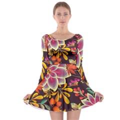 Autumn Flowers Pattern 6 Long Sleeve Skater Dress