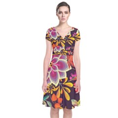 Autumn Flowers Pattern 6 Short Sleeve Front Wrap Dress