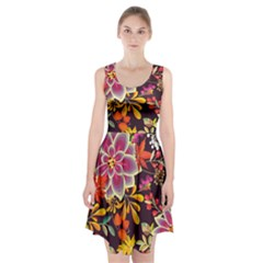 Autumn Flowers Pattern 6 Racerback Midi Dress