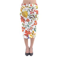 Autumn Flowers Pattern 7 Midi Pencil Skirt
