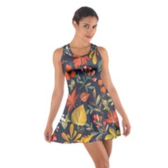 Autumn Flowers Pattern 8 Cotton Racerback Dress