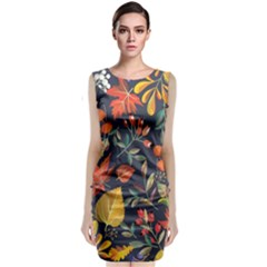 Autumn Flowers Pattern 8 Classic Sleeveless Midi Dress