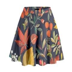 Autumn Flowers Pattern 8 High Waist Skirt