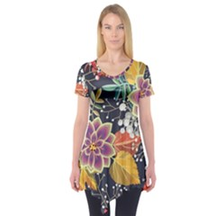 Autumn Flowers Pattern 10 Short Sleeve Tunic