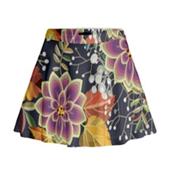 Autumn Flowers Pattern 10 Mini Flare Skirt